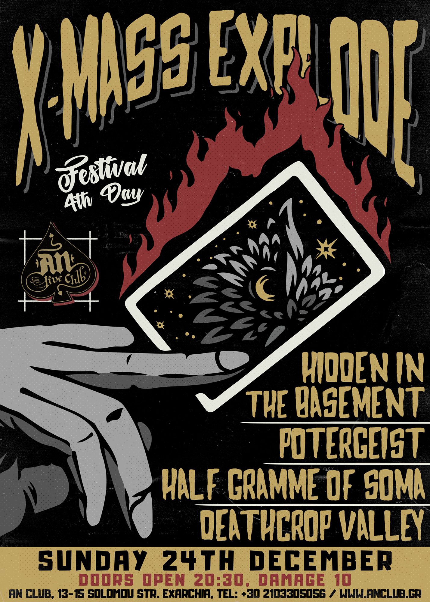 24.12.2017 – X-mass Explode Fest / Day 4: Hidden In The Basement, Potergeist, Half Gramme Of Soma, Deathcrop Valley
